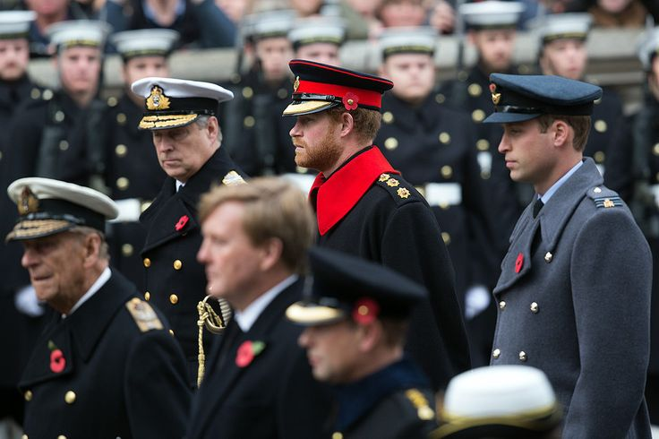 Prince Philip, Dutch King Wilhem-Alexander, Prince Edward, Prince Andrew, Prince Harry and Prince William on Remembrance Day 2015