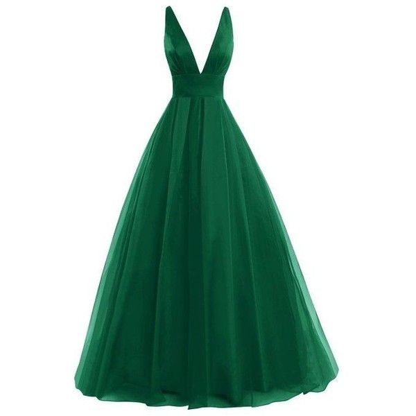 Bess Bridal Women's Tulle Deep V Neck Prom Dress Formal Evening Gowns ❤ liked on Polyvore featuring dresses, gowns, green prom dresses, prom gowns, bridal gowns, formal evening gowns and homecoming dresses