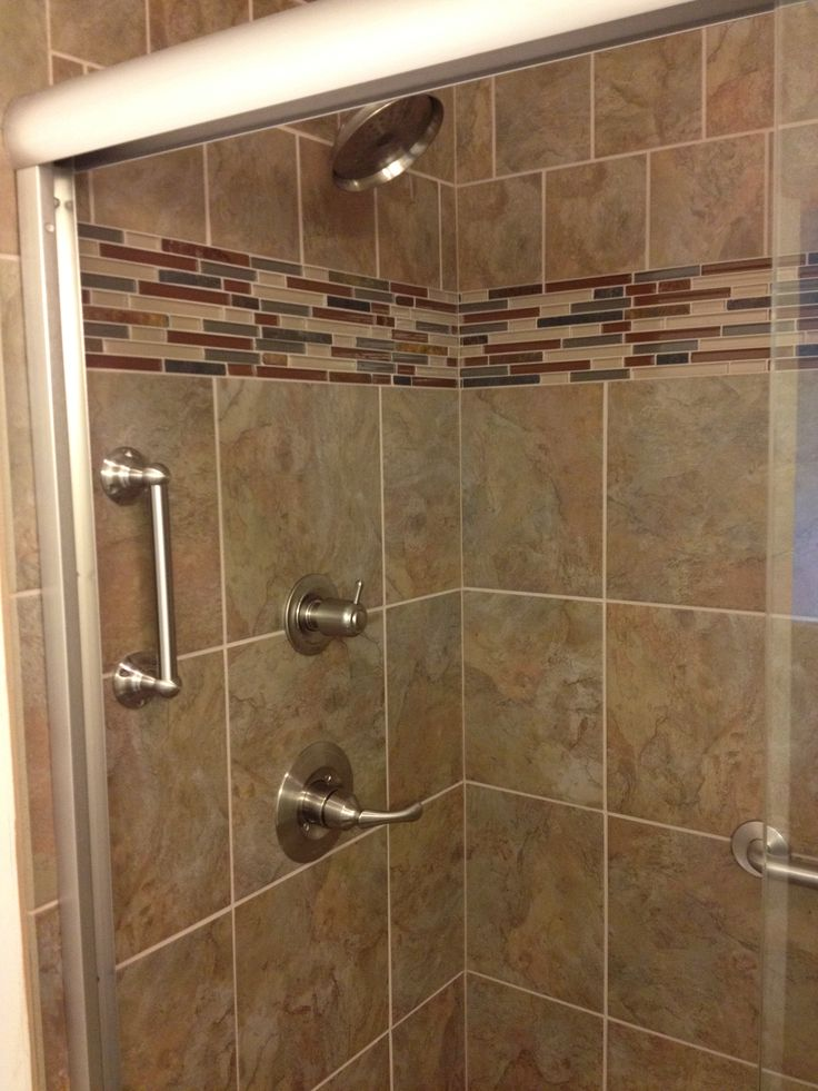 14 best images about shower wall tile patterns on pinterest shelves pebble floor and wayne homes - Decorative bathroom tiles ...