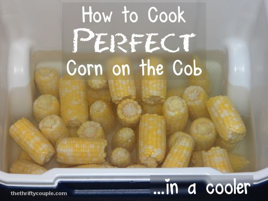 How to cook perfect corn on the cob in a cooler. Cooking corn in a cooler is an easy, perfect and delicious way to make a perfect batch of crisp corn on the cob!