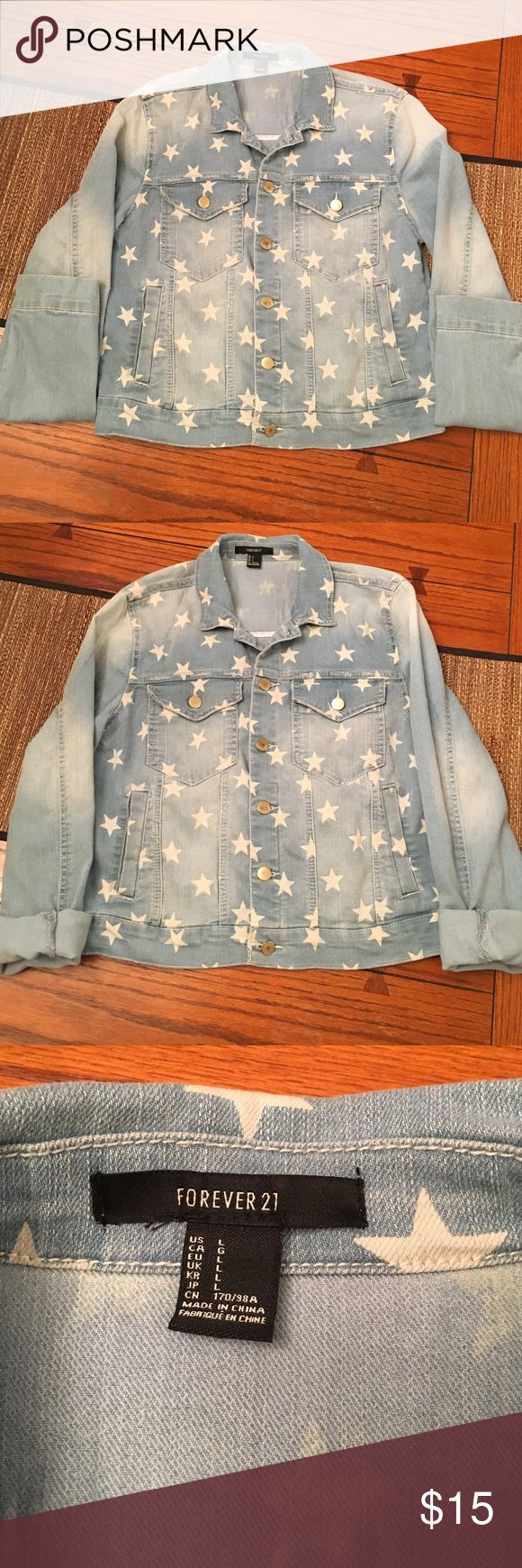 Jean jacket women's large Forever 21 jean jacket women's size large (fitted large... not baggy/bulky) Faded light blue jean style with star print. No stains or holes.  Sleeves can be cuffed/rolled up for a different styled look.  Super cute jacket... cute ANY time of the year but especially around 4th of July, on a cool night! Forever 21 Jackets & Coats Jean Jackets