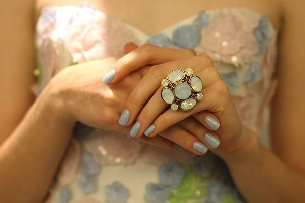 This Manicure: Baby Blue, Bridal Collection, Cocktails Rings, Bridal Nails, Nails Color, Nails Polish, Blue Flower, Something Blue, Blue Nails