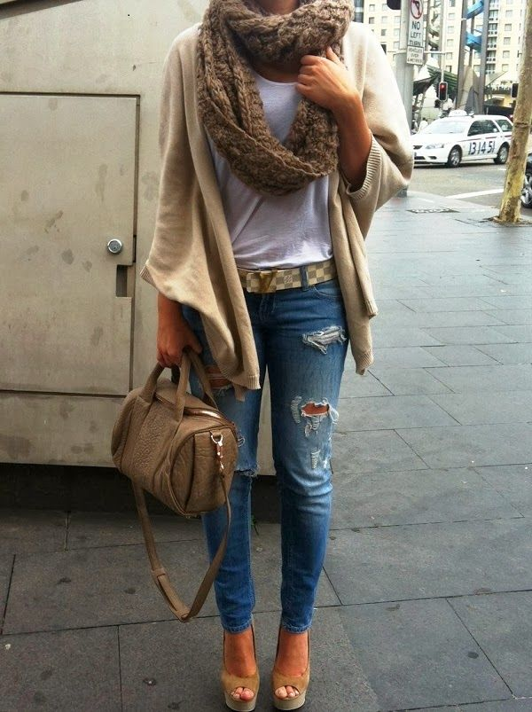 Cozy Crochet Scarf,Plain Cardigan,Ripped Jeans and Handbag