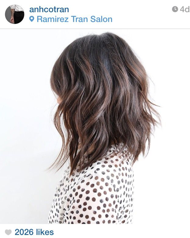 Soft A-lined, choppy layered, shoulder length bob. My favorite by Anh Co Tran