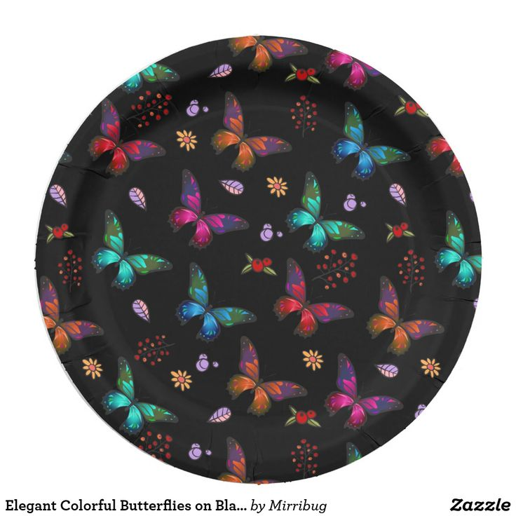 Elegant Colorful Butterflies on Black Paper Plate