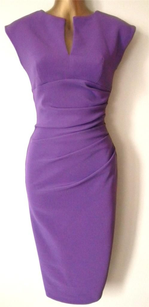 NEW-EX-JULIEN-MACDONALD-50s-VINTAGE-PURPLE-SPLIT-NECK-PENCIL-WIGGLE-DRESS-8-16