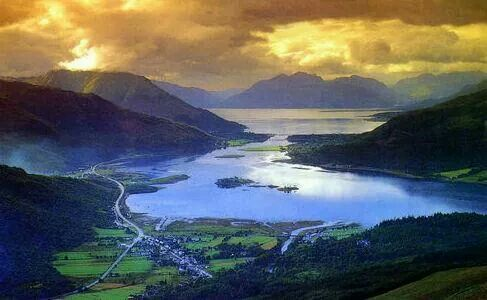 Tour Scotland photograph of sunset hour behind Loch Leven on ancestry visit to Scottish Highlands ~Sandy Stevenson http://tour-Scotland-photographs.Blogspot.com