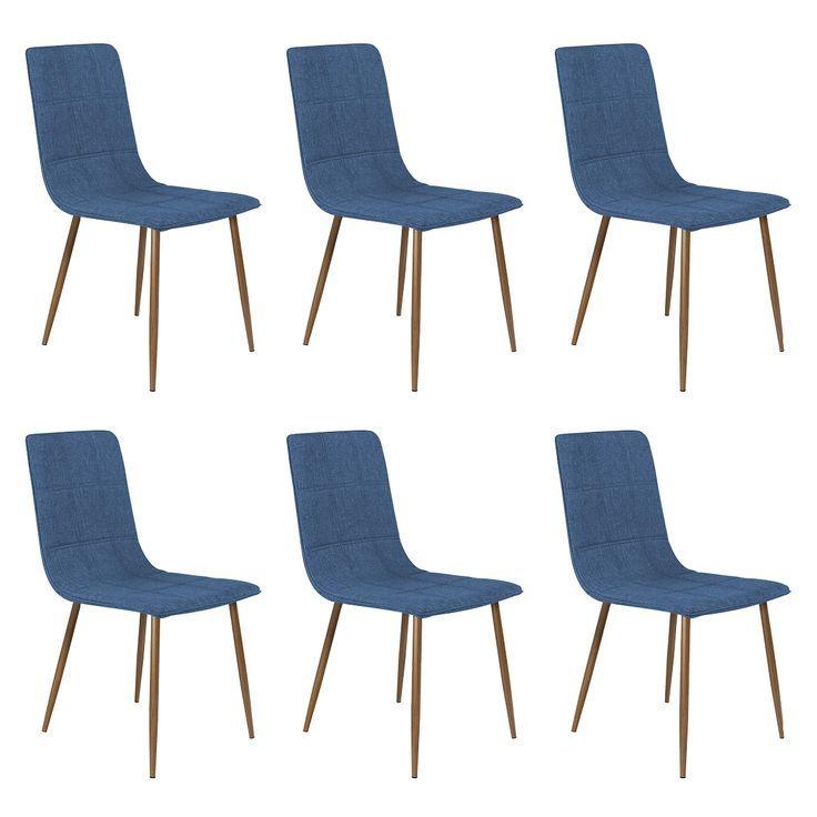 Modrus Lot De 6 Chaises Bleu Fonce Worldefashion Com Decoration Chaise Bleu Chaise Turquoise Chaise Couleur