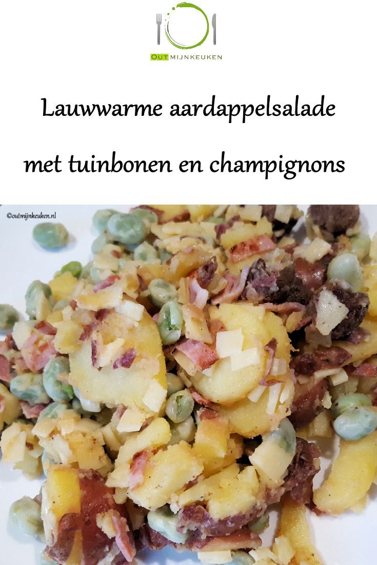 Lauwwarme aardappelsalade met bacon, Leerdammer kaas en tuinbonen. Klip op de foto voor het recept