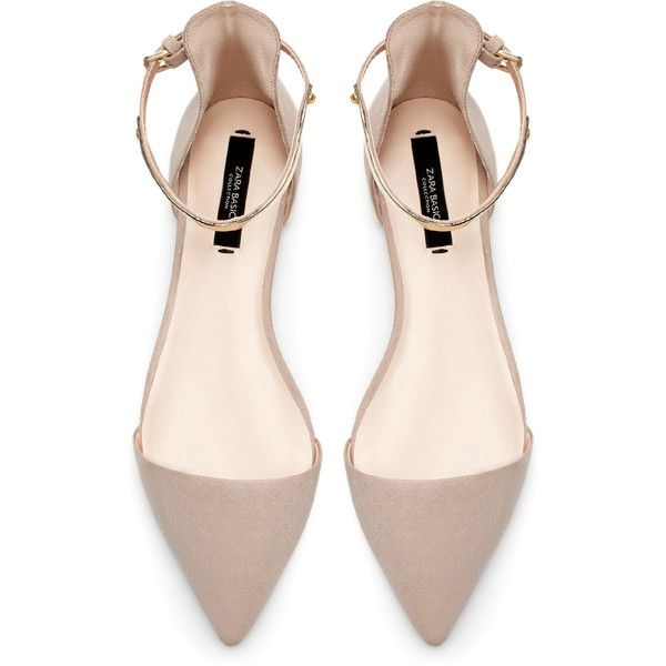 Zara Pointy Shoes With Ankle Strap (78 BRL) ❤ liked on Polyvore featuring shoes, flats, heels, sandals, zara, ankle wrap flats, pointed heel shoes, flat pumps, pointed flat shoes and zara flats