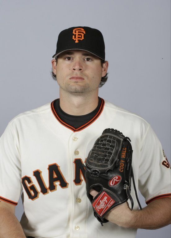This is a 2015 photo of Cody Hall of the San Francisco Giants baseball team.