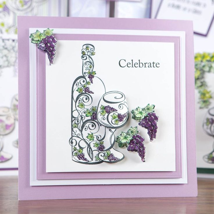 Purple and white celebratory card made with the A Bottle of Vine Collection! Shop now at C+C: http://www.createandcraft.tv/pp/honey-doo-crafts-bottle-of-vine-collec-345696?p=1 #cardmaking #papercraft