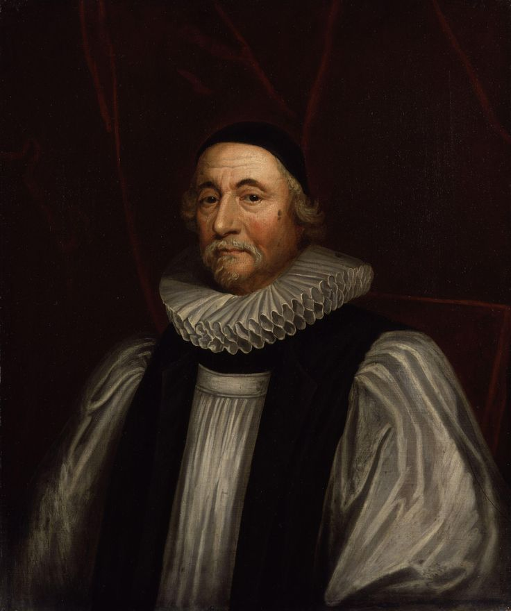 """James Ussher,  Irish Archbishop of Armagh and Primate of All Ireland between 1625 and 1656, by Sir Peter Lely. He was a prolific scholar and church leader, who today is most famous for his chronology that sought to establish the time and date of the creation as """"the entrance of the night preceding the 23rd day of October... the year before Christ 4004""""; that is, around 6 pm on 22 October 4004 bc according to the proleptic Julian calendar."""