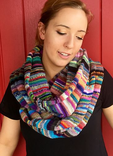 """If you're like me and save even the smallest """"fiddly bits"""" of sock/fingering yarn for future use, then you'll like this project. You create your own ball of yarn by knotting those bits together - nothing like being thrifty and artistic. Check out Hipknitizer's Yarn Nuggets on Etsy if you want to pump up your scrap stash."""