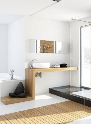 Mobile bagno piano lavabo alto design made in italy 150x45x7