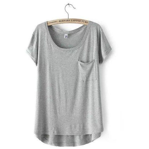 Short-Sleeve Dip-Back T-Shirt ($19) ❤ liked on Polyvore featuring tops, t-shirts, shirts, tees, grey tee, gray tank top, grey tank top, grey t shirt and gray t shirt