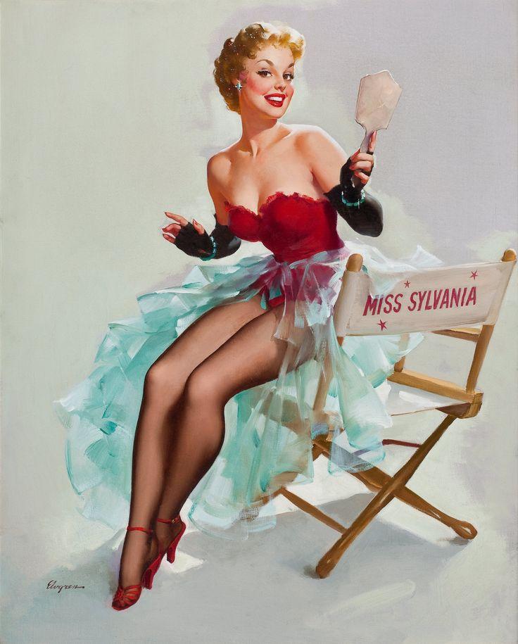 GIL ELVGREN (American, 1914-1980). Admiring Miss Sylvania, circa   Lot #78208   Heritage Auctions