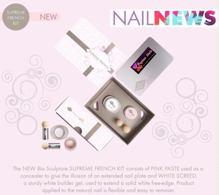 *COMING SOON * The NEW Bio Sculpture SUPREME FRENCH KIT consists of PINK PASTE used as a concealer to give the illusion of an extended nail plate and WHITE SCREED, a sturdy white builder gel, used to extend a solid white free-edge. Product applied to the natural nail is flexible and easy to remove.