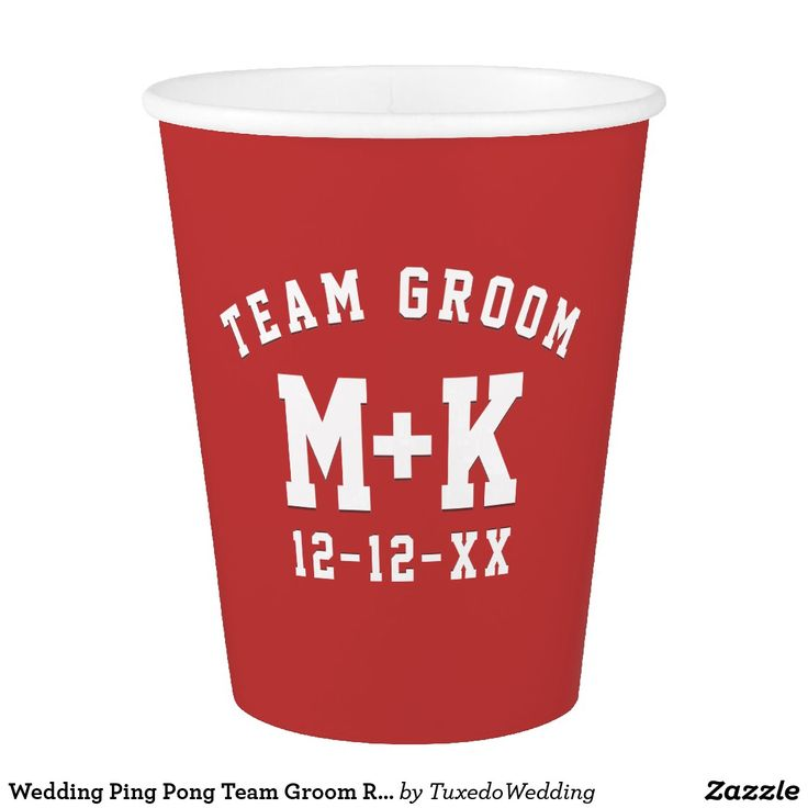 Wedding Ping Pong Team Groom Red Paper Cups