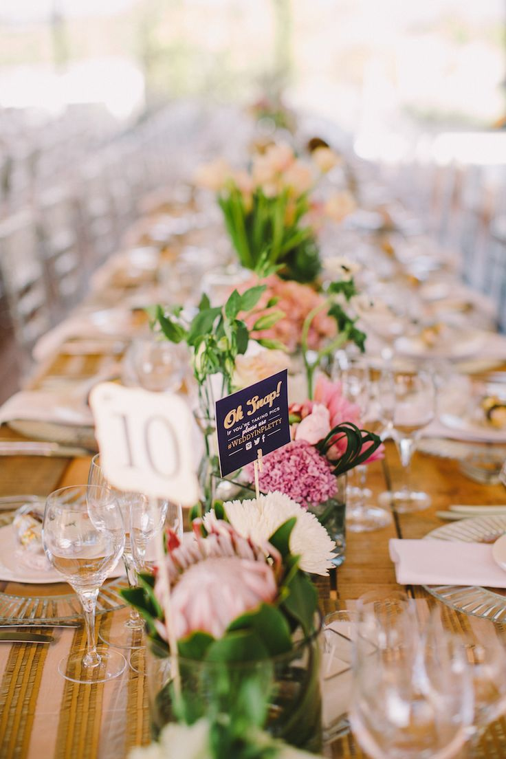 Roxy Burger's fairytale wedding at Forest Hall in Plettenberg Bay. Click for more. Nude, gold and vintage chic wedding decor.