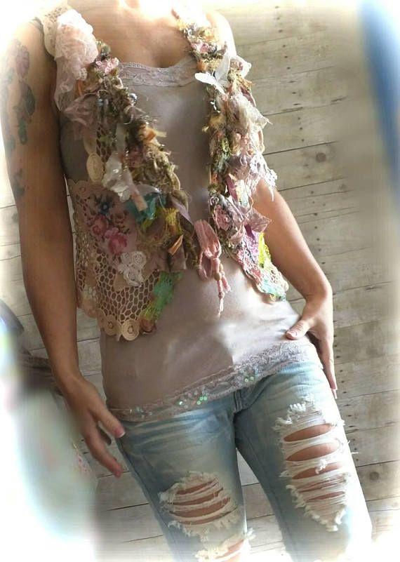Pink Sunshine Shabby Chic mori Lace fiber textile art Cardigan