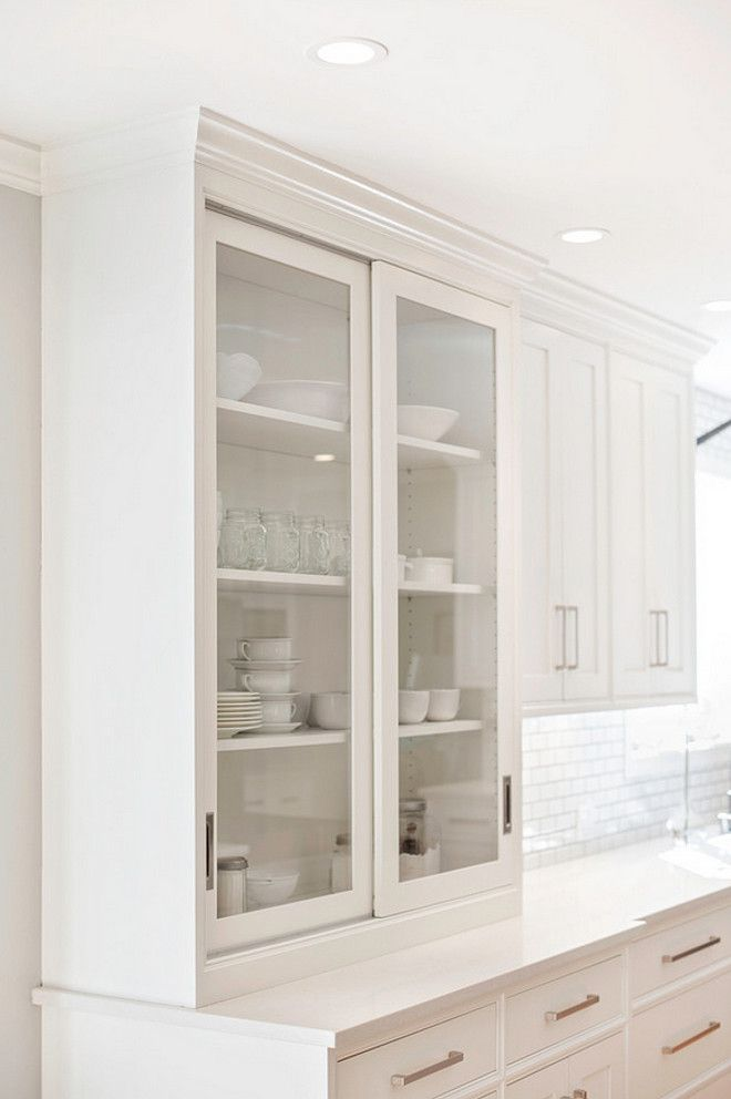 The Perimeter Cabinets Are A Warm White By Pennville Called Cottonball Notice The Sliding Cabinet Doorsglass Kitchen Cabinet