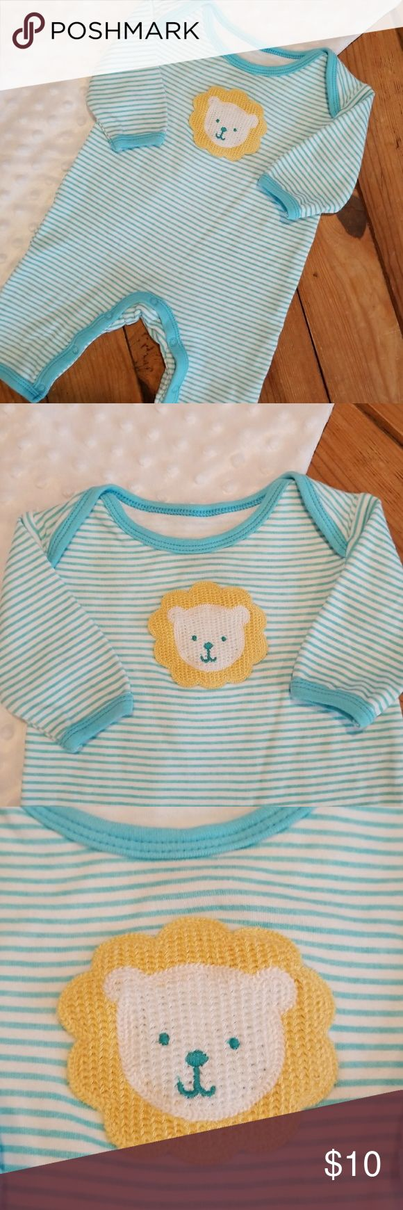Baby one piece lion embroidery outfit Unique, cute, teal and white stripped one piece outfit with lion embroidery, 100% cotton and NWOT. Rene Rofe One Pieces Bodysuits