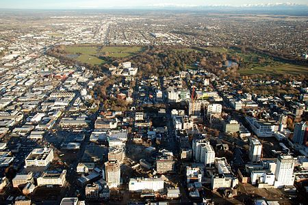 Christchurch, NZ - Aerial view of the central city in July 2012 looking west, with most of the earthquake-damaged tall buildings still standing;