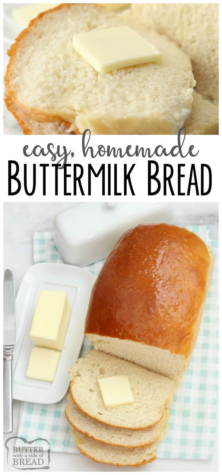 Buttermilk Bread baked fresh in your kitchen with this easy recipe! This recipe for homemade #bread is soft and has incredible flavor. YES it can be made in your BREAD MACHINE! Simple bread #recipe that everyone loves from Butter With A Side of Bread #homemadebreads