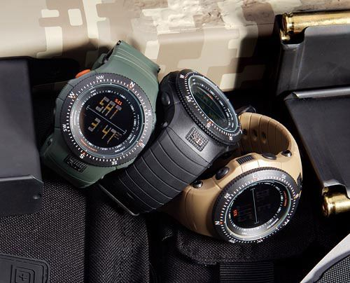 5.11 Tactical Field Ops watch features the SureShot ballistic calculator, digital compass, backlight, water resistant to 100 meters, and comes cased in a high-density polycarbonate frame. $194.99