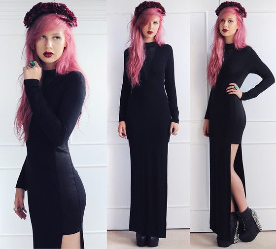 Bill + Mar Maxi Dress, Rock N Rose Penelope Flower Crown, Jeffrey Campbell Spiked Damsels