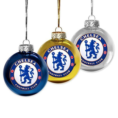 1 x Pack Of 3 Chelsea Fc Round Baubles With Official Team Crest