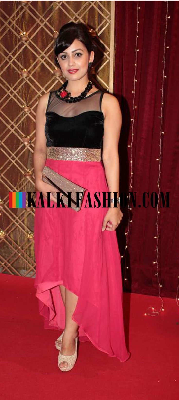 http://www.kalkifashion.com/  Esha kanasara in a pink tail cut gown attending  at Indian Telivision Awards 2013