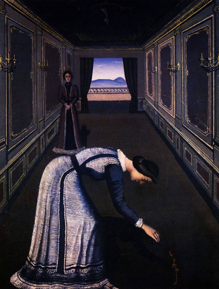 Paul Delvaux Femme a la Rose - this painting actually creeps me out ....