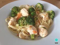 Receta de Espaguetis con pollo y brócoli #RecetasGratis #RecetasFáciles #Pasta #Pollo #Espaguetis