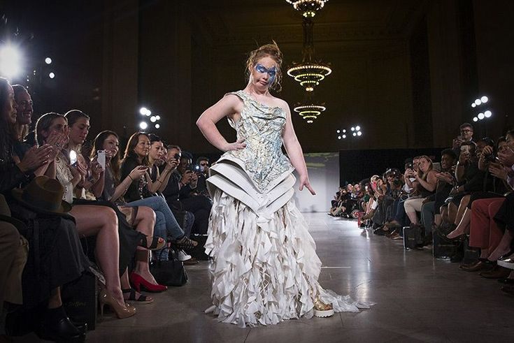 Madeline Stuart, an Australian model with Down syndrome, models a Hendrik Vermeulen dress in the FTL Moda presentation of the spring/summer 2016 collection ...