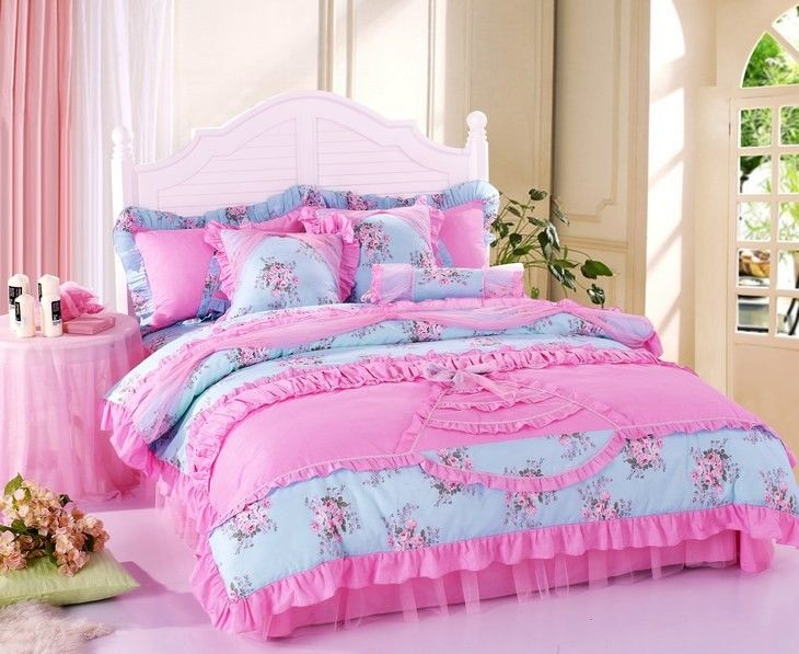 purple pink and blue and green bedding