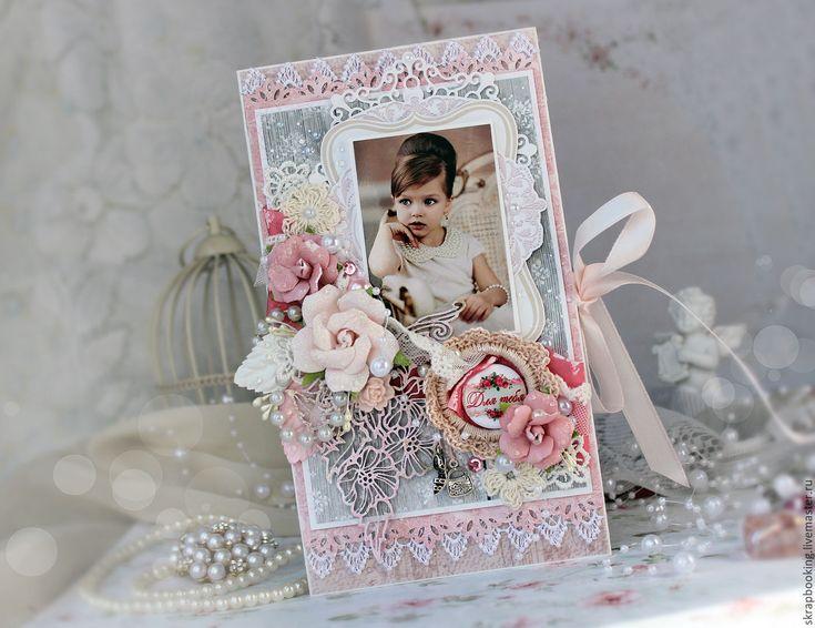 Купить Большая открытка - бледно-розовый, открытка, Открытка ручной работы, детская открытка