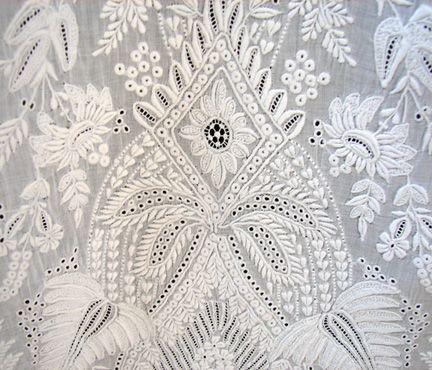Maria Niforos - Fine Antique Lace, Linens & Textiles : Antique Christening Gowns & Children's Items # CI-87 Circa 1860's Exquisite Ayrshire Christening Gown