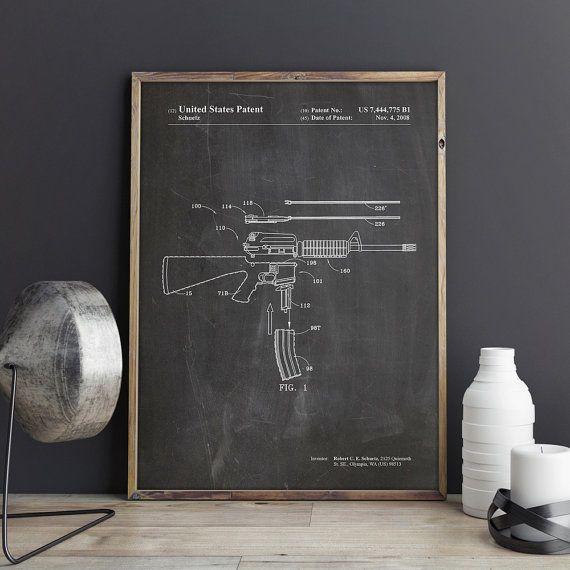AR 15 Patent Print krijgskunst M16 Ar-15 geweer door GattoStamps