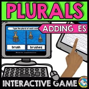 PLURALS GAME ADDING ES (GRAMMAR LITERACY GAME)  A fun game where children type the plural form of each noun word by adding es. Just right for children beginning to learn plurals! Perfect for Kindergarten literacy centers, homeschool and more!  Keywords: typing plurals, writing plural words, plural nouns game, singular and plural, -es plural, -es suffix noun, plural aadding es