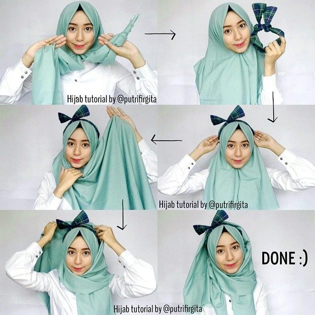 A beautiful hijab look added to our hijab tutorials category, you can replace the band with any other bandana of your choice! Here are the steps: Place the hijab on your head with a long and short side Pin…