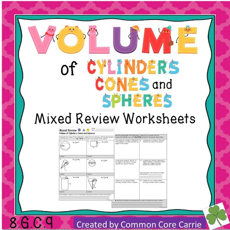 volume of cylinders cones and spheres mixed review worksheet the o 39 jays products and student. Black Bedroom Furniture Sets. Home Design Ideas