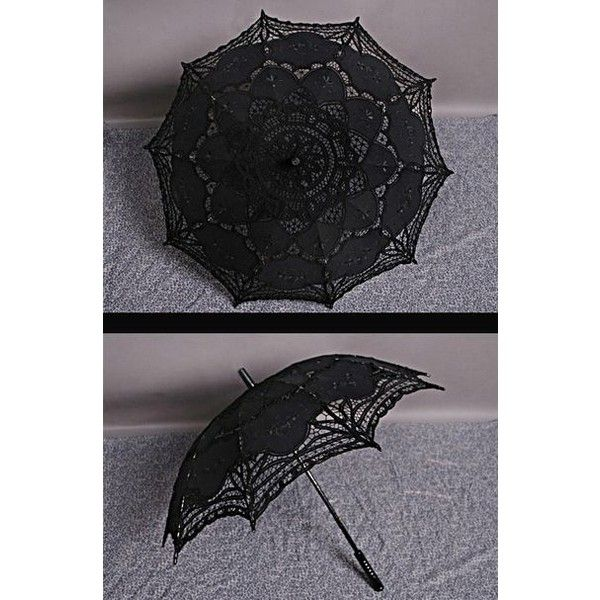 Gothic Lace Umbrella ❤ liked on Polyvore featuring accessories, umbrellas, goth umbrella, gothic umbrella and lace umbrella