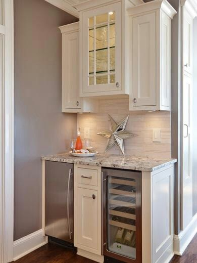 Small wet bar with icemaker small wine fridge and for Small bar area ideas