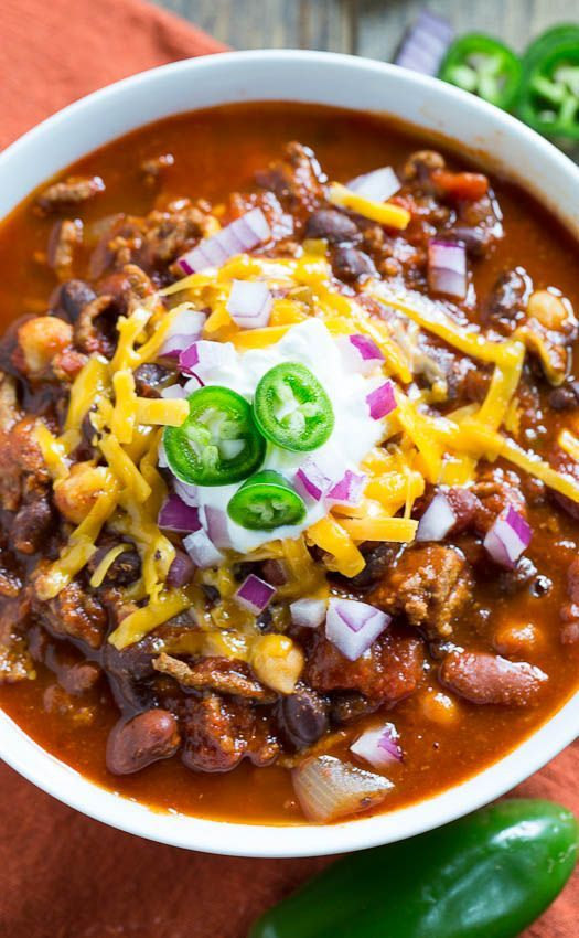 This three-bean hearty chili will satisfy big appetites on game-day! @spicysouthernkitchen