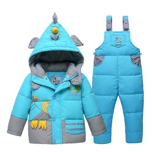 Dr.mama Baby Daunenjacke mit Kapuze Daunenhose Jacket 2tlg Bekleidungsset leicht Winterjacke + Winterhose mit Aufdruck für Kinder Junge Mädchen-Blau-100