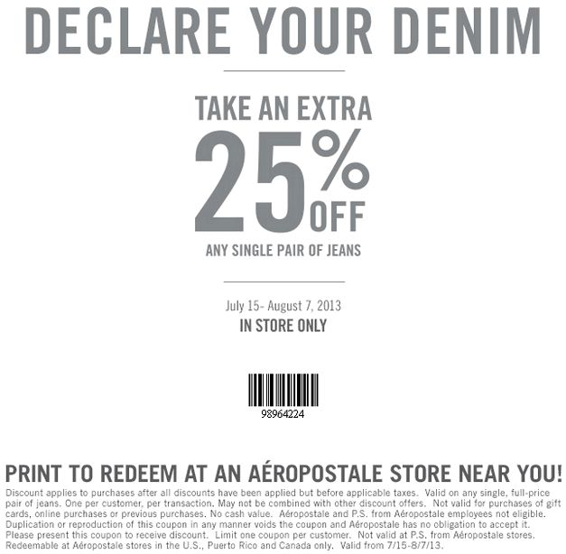 Aeropostale Printable Coupon for Jeans