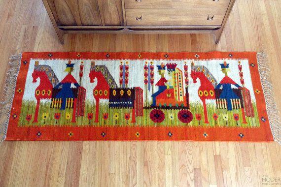 Cepelia Poland Wedding Tapestry Kilim Rug by Maria Domanska
