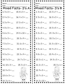 Fact Fluency Timed Tests Multiplication And Division Whos Who And